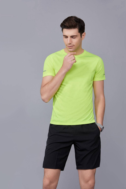 春夏季潮流新品 男士短袖上衣 时尚纯棉运动T恤衫 果绿色