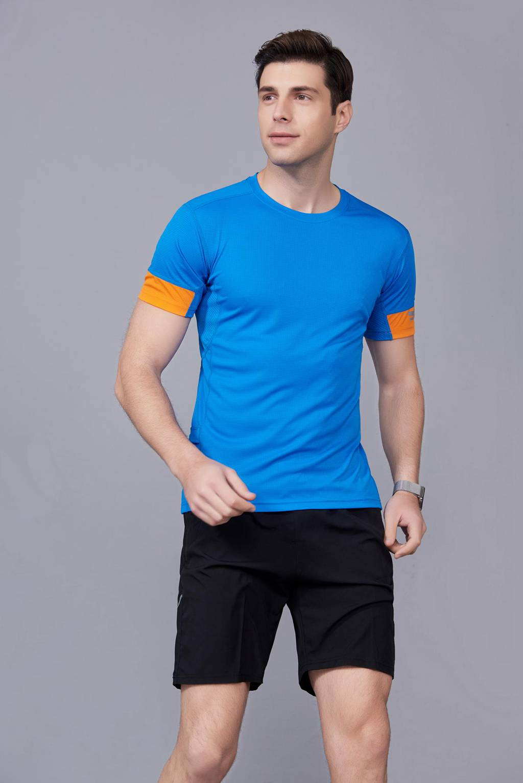 春夏季潮流新品 男短袖上衣 时尚纯棉运动T恤衫 湖蓝色