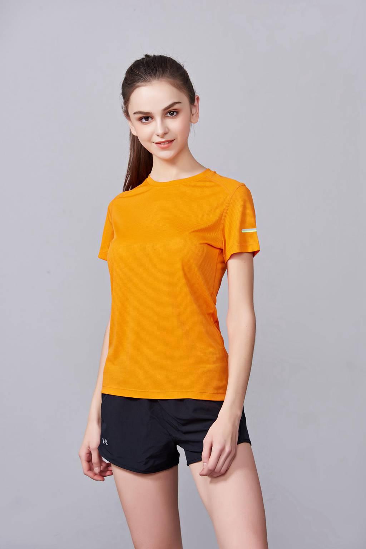 春夏季潮流新品 男女短袖上衣 时尚纯棉运动T恤衫 橘色